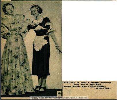Ábrahám Pál: Mese a Grand Hotelben c. operett premier 1936. Kamara Színház