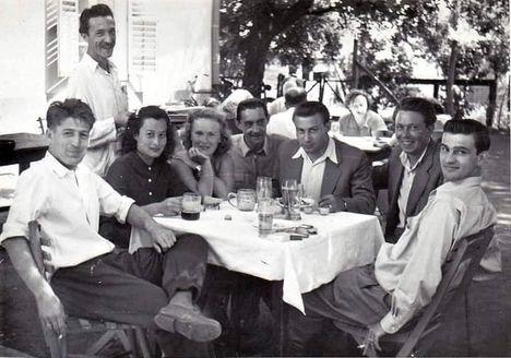 Zöldlugas vendéglő, Balatonlelle.  Czibor Zoltán, Budai II. László, Kocsis Sándor. 1954.