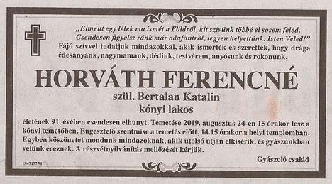 Horváth Ferencné gyászjelentése
