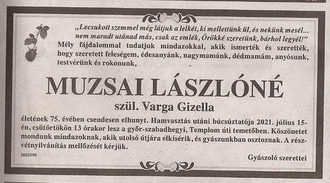 Muzsai Lászlóné gyászjelentése