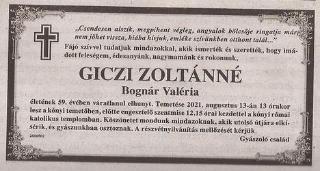 Giczi Zoltánné gyászjelentése