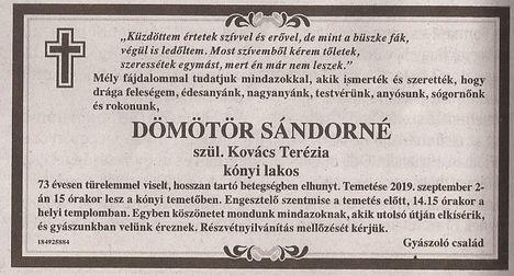 Dömötör Sándorné gyászjelentése
