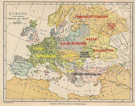 Európa 814-ben Nagy Károly halálakor