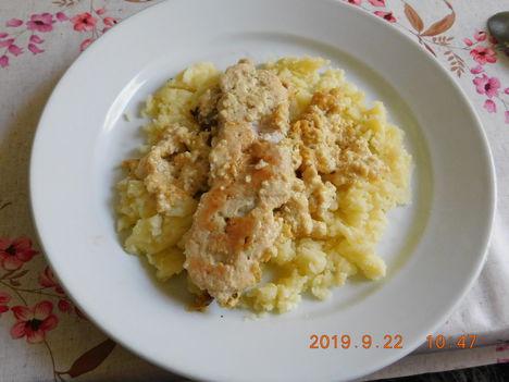 7 sajtos sült csírkemell főtt burgonyával.