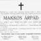 Makkos Árpád gyászjelentése