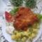 pankómorzsás csirkemell rizzsel és petrezselymes burgonyával