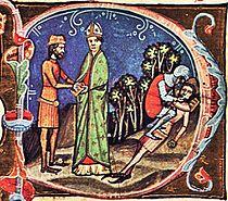 Péter király megvakítása, András fogadása. Képes Krónika