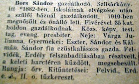 Bors Sándor gazdálkodó-Szilsárkány