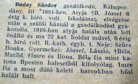 Buday Sándor  gazdálkodó-Rábapordány