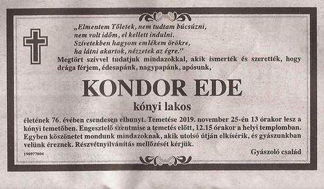 Kondor Ede gyászjelentése