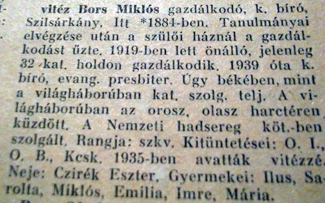 vitéz Bors Miklós gazdálkodó-Szilsárkány
