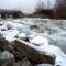 Fagyos állapotok a Denkpáli megcsapoló műtárgyon kivezetett víznél, Dunasziget 2017. január 31.-én