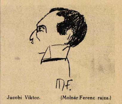 Jacobi Viktor operettszerző 1911 Színházi Hét (Molnár Ferenc rajza)