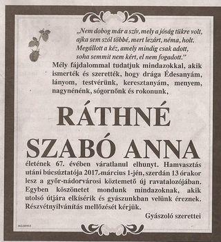 Ráthné Szabó Anna gyászjelentése