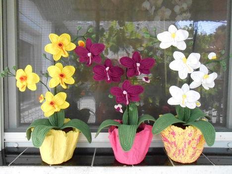Egyedi, kézzel készült, horgolt orchidea. 1