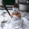 Hóember a Márialiget gátőrház udvarán, Hegyeshalom 2017. január 27.-én 2