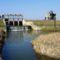 Márialigeti vizierőmű feletti szakaszon a Lajta folyó duzzasztását biztosító zsilipek, 2017. március 16.-án 3