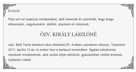 Elhunyt özv.Király Lászlóné