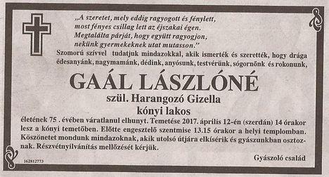 Gaál Lászlóné gyászjelentése