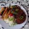 Barbecjus  szelet rizzsel és burgonyával