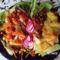 Barbecjus csirkecombok zöldséggel és burgonya körettel
