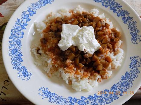 Gombapörkölt főtt rizsel