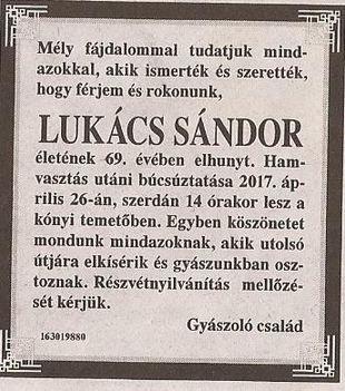 Lukács Sándor gyászjelentése