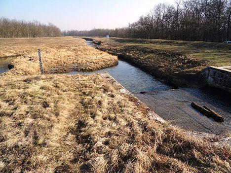 Lajta folyó főmeder a Márialigeti duzzasztómű alvízi oldalán, Hegyeshalom 2017. február 15.-én