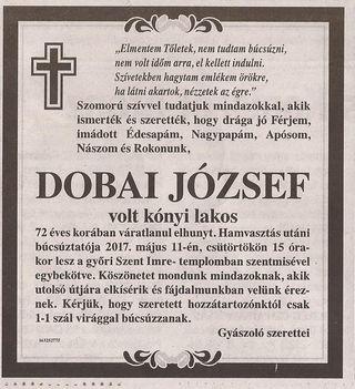 Dobai József gyászjelentése