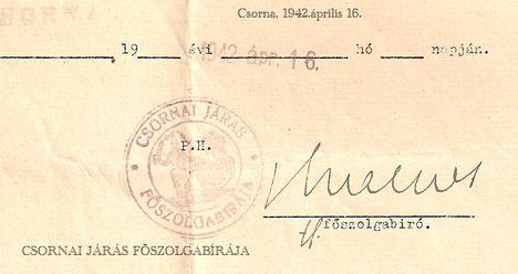 CSORNAI JÁRÁS PECSÉTJE 1942