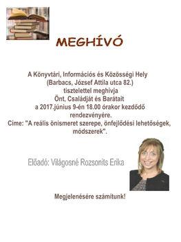 Világosné Rozsonits Erika előadása 2017.06.09.