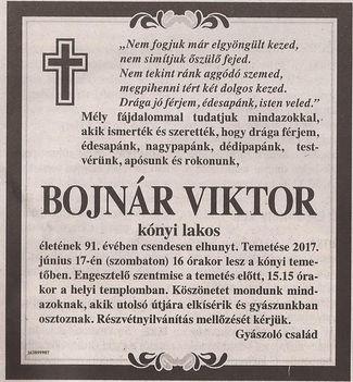 Bojnár Viktor gyászjelentése