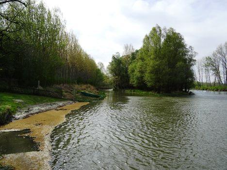 Mosoni-Duna folyó a Cvika Camping melletti szakaszon a jobb parti Cvika-ág alatt, Kimle 2017. április 11.-én 2