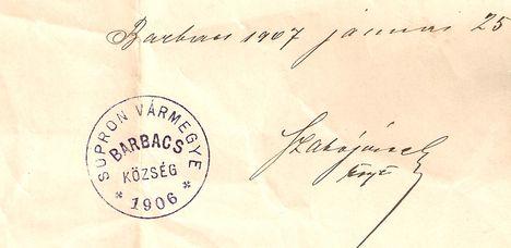 Sopron Vármegye Barbacs Község 1906