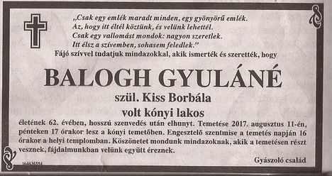 Balogh Gyuláné gyászjelentése