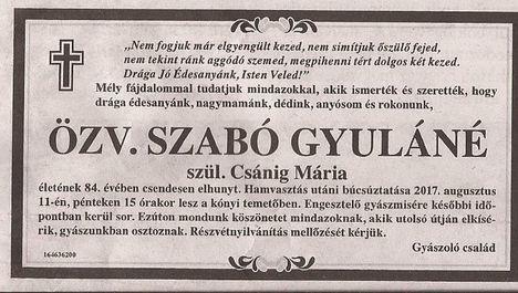 özv. Szabó Gyuláné gyászjelentése