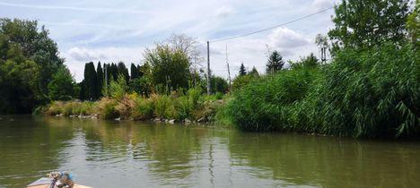 A Mosoni-Duna folyó belterületi partrendezés Mosonmagyaróvár, Elza utca, 2017. július 25.-én 2