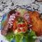 Kacsacombok rántott csirkemell káposztával és burgonyapurével