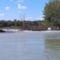 Árhullám a Dunán, Denkpáli ágváglezárásnál, hallépcső és megcsapoló műtárgy az alvízről nézve, Dunasziget 2017. szeptember 05.-én