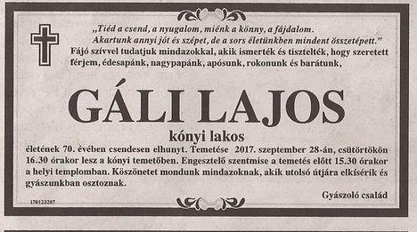 Gáli Lajos gyászjelentése