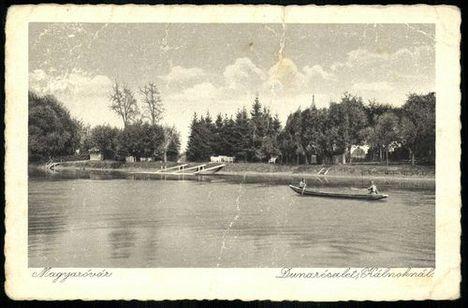 Régi képeslap, Mosoni-Duna a Mosoni partszakaszon