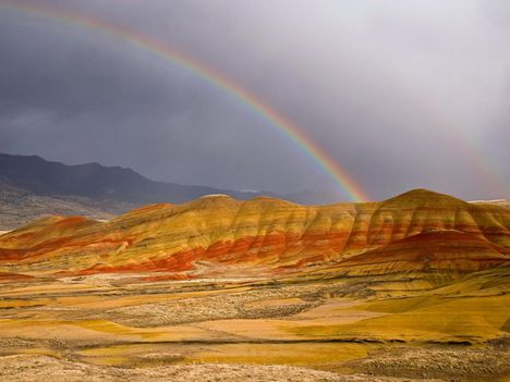 Rainbow Over the Painted Hills Oregon