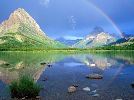 Rainbow Reflections Swiftcurrent Lake Glacier National Park Montana