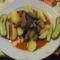 Sertésmáj főt burgonyával és csemege uborka,