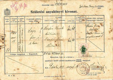 1923. november 11. Kertész Lajos Születési anyakönyvi kivonat