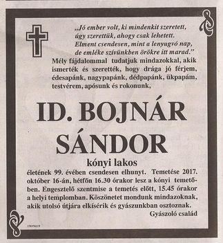 id. Bojnár Sándor gyászjelentése