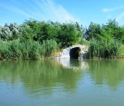Mosoni-Duna, jobb parti vízkivétel a Horvátkimlei vizes élőhely felé, Kimle 2017. július 25.-én