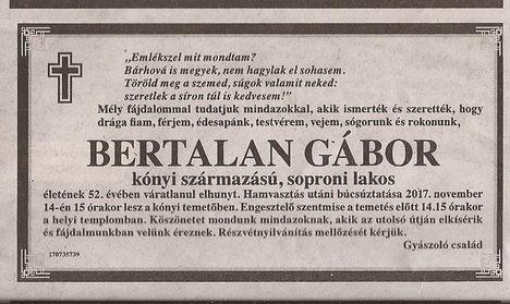 Bertalan Gábor gyászjelentése