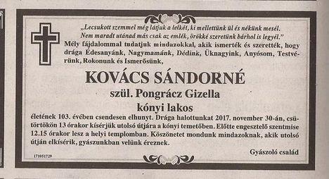 özv. Kovács Sándorné gyászjelentése