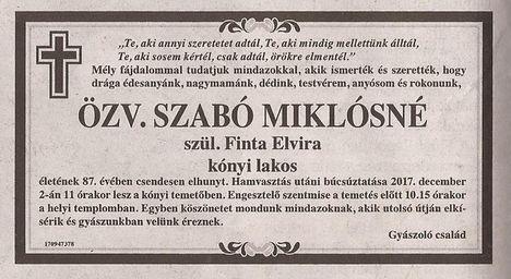 zv. Szabó Miklósné gyászjelentése